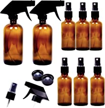Youngever 8 Pack Empty Amber Glass Spray Bottles, 2 Pack 8 Ounce and 6 Pack 4 Ounce Refillable Containers for Essential Oils, Cleaning Products, Durable Black Trigger Sprayer Fine Mist and Stream