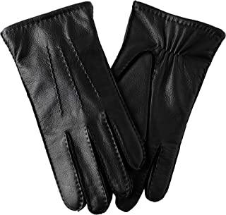 mens brown leather winter gloves