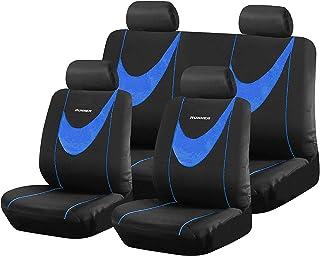 Funda de asiento de coche Cojín/almohadilla de asiento de coche Antideslizante Antideslizante Transpirable Fácil de limpiar Algodón resistente al desgaste Four Seasons Universal,Azul