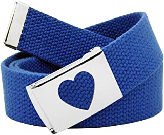 Girl's School Uniform Silver Flip Top Heart Belt Buckle with Canvas Web Belt