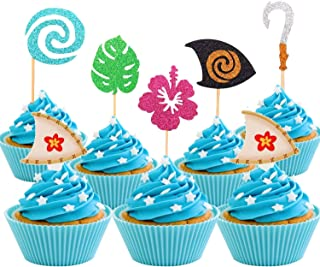 30 Pcs JeVenis Glittery Moana Inspired Cupcake Toppers Moana Cupcake Toppers Birthday Party Decoration Boat Sail Swirls Hooks Hawaiian Flower Leaves for Tropical Luau Summer Party Baby Shower Wedding
