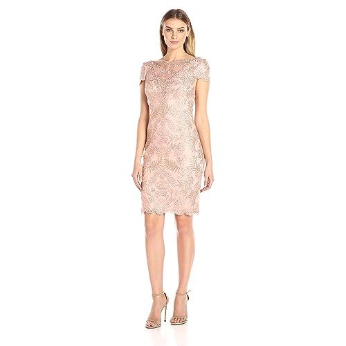 41a7fb83dc11 Tadashi Shoji Women s Corded Lace-Illusion Neckline-v-Back-Cap SLV Dress