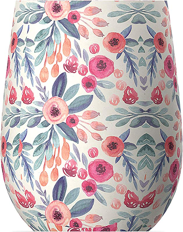 Asobu Imperial Insulated Stemless Wine Cup Floral