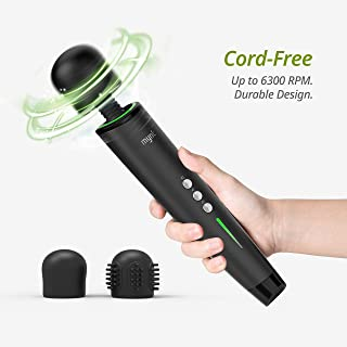 Mynt Cordless Handheld Massager, Powerful Portable Wand Massager with 2h Battery, Custom Settings and 2X Textured Massage Heads