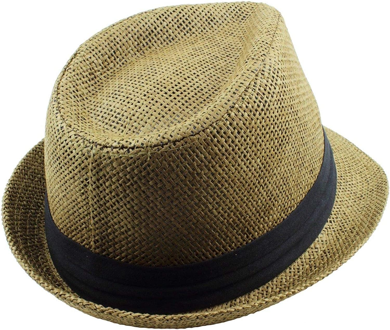 Unisex Olive Summer Fedora Panama Straw Hats with Band Size L/XL