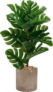 winemana 17 inches Artificial Potted Greenery Green Leaf Plants, Monstera Leaf Small Plants for Office Desk Indoor Outdoor...