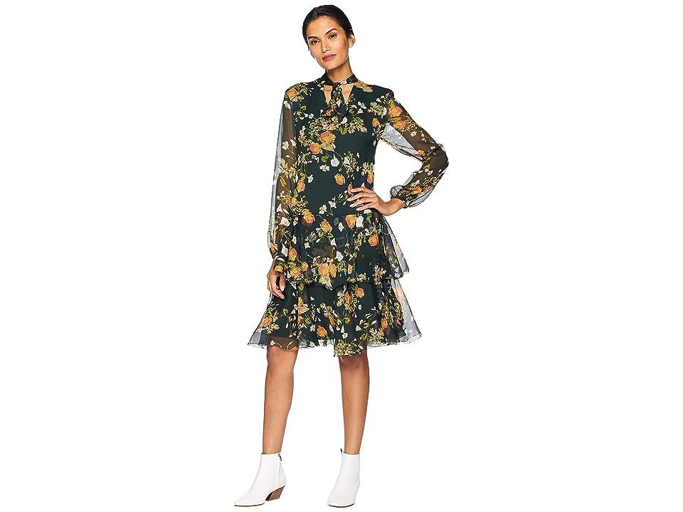 LAUREN Ralph Lauren Floral Georgette Dress (Green Multi) Women