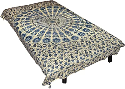 Healing Crystals India Cotton Jaipuri Screen Printed Single Bedsheet - 144 TC Bohemian Fitted Diwan Bed Covers 84x54 Inches (Blue Mandala)
