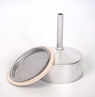 Sanfor Repuesto Cafetera Italiana 12 Tazas | Recambio Embudo + Filtro + Junta | Aluminio Caucho | Diámetro 82 mm