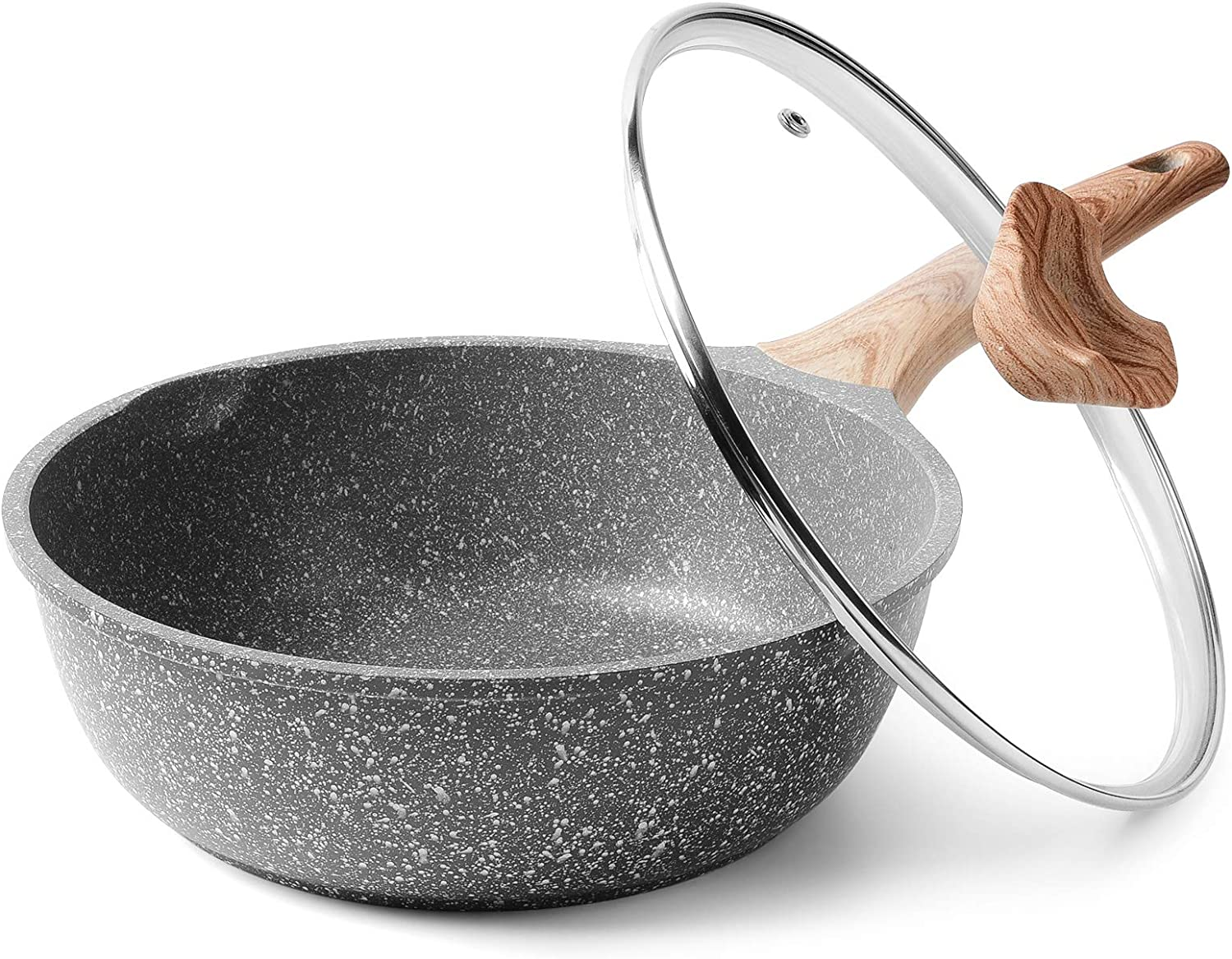 Caannasweis Nonstick Pan, Nonstick Deep Frying Pan, Nonstick Stone Saute Pan with Lid, Griddle Pan Soft Touch Handle, Induction Compatible(9.5 inch)