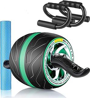 ELTD 腹筋ローラー 自動リバウンド式 静音 取り付け簡単 滑りやめ 膝マットと腕立て台付き 高耐久性 緑