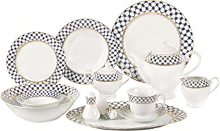Lorren Home Trends 57-Piece Porcelain Dinnerware Set with Cobalt Blue Lattice Border, Service for 8