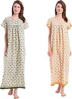 Shararat Women's Cotton Nighty | Floral Nightdress Night Gown for Women