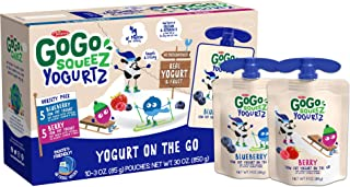 GoGo squeeZ YogurtZ, Variety Pack (Blueberry/Berry), 3 Ounce (10 Pouches), Low Fat Yogurt, Pantry-friendly, Gluten Free, Recloseable, BPA Free Pouches (Packaging May Vary)