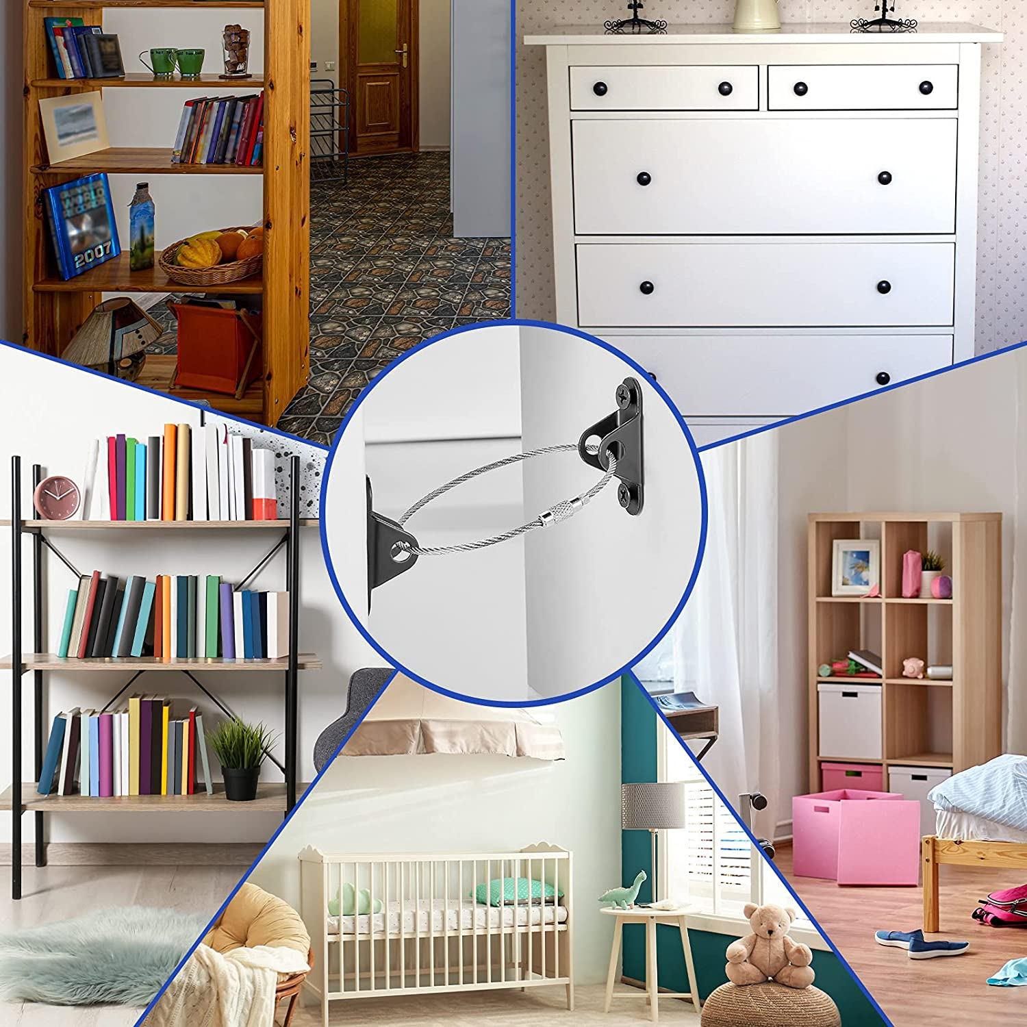 12 Pieces Furniture Anchors,Furniture Wall Straps for Baby Proofing,Earthquake Resistant Metal Straps Anti Tip Children Safety Device,Furniture Secure Straps for Dresser Cabinet Bookshelf (Black)