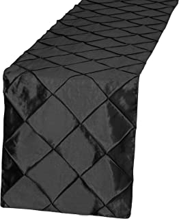 Obstal 5 Pieces Pintuck Taffeta Table Runners Lightweight Elegance Decorative Runner for Wedding Coffee Dining Room Outdoor Birthday Anniversary Parties (14 x 108 inches, Black)