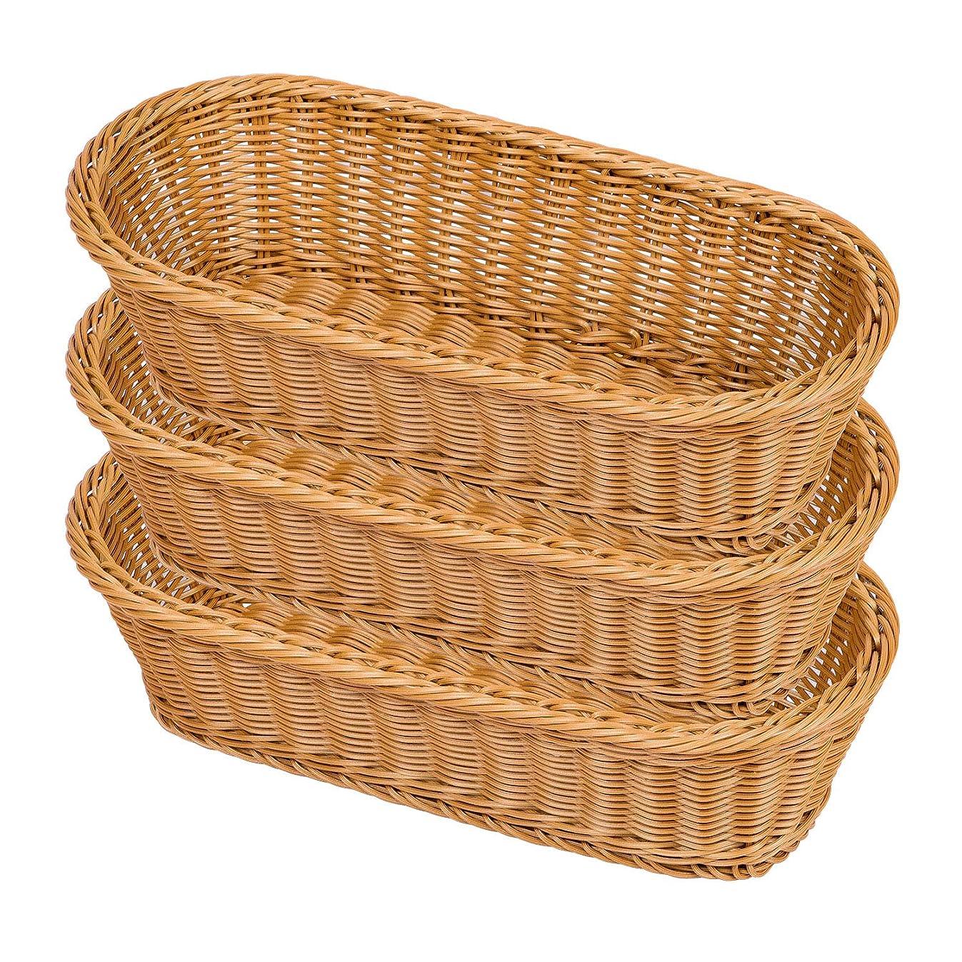 Natural Wicker Bread Basket,Long Woven Tabletop Food Fruit Multifunctional Sturdy Storage Serving Basket(3 PACKS)