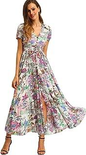 Milumia Women Floral Print Button Up Split Flowy Party...