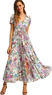 Women Floral Print Button Up Split Flowy Party Maxi Dress