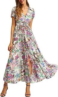 دکمه چاپ گل های زنانه Milumia تا لباس مجلسی شکاف دار Maxi Dress
