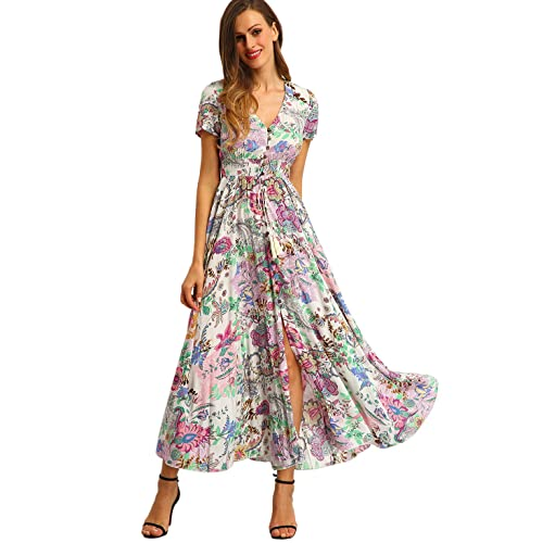 b5070fe6b21 Milumia Women Floral Print Button Up Split Flowy Party Maxi Dress