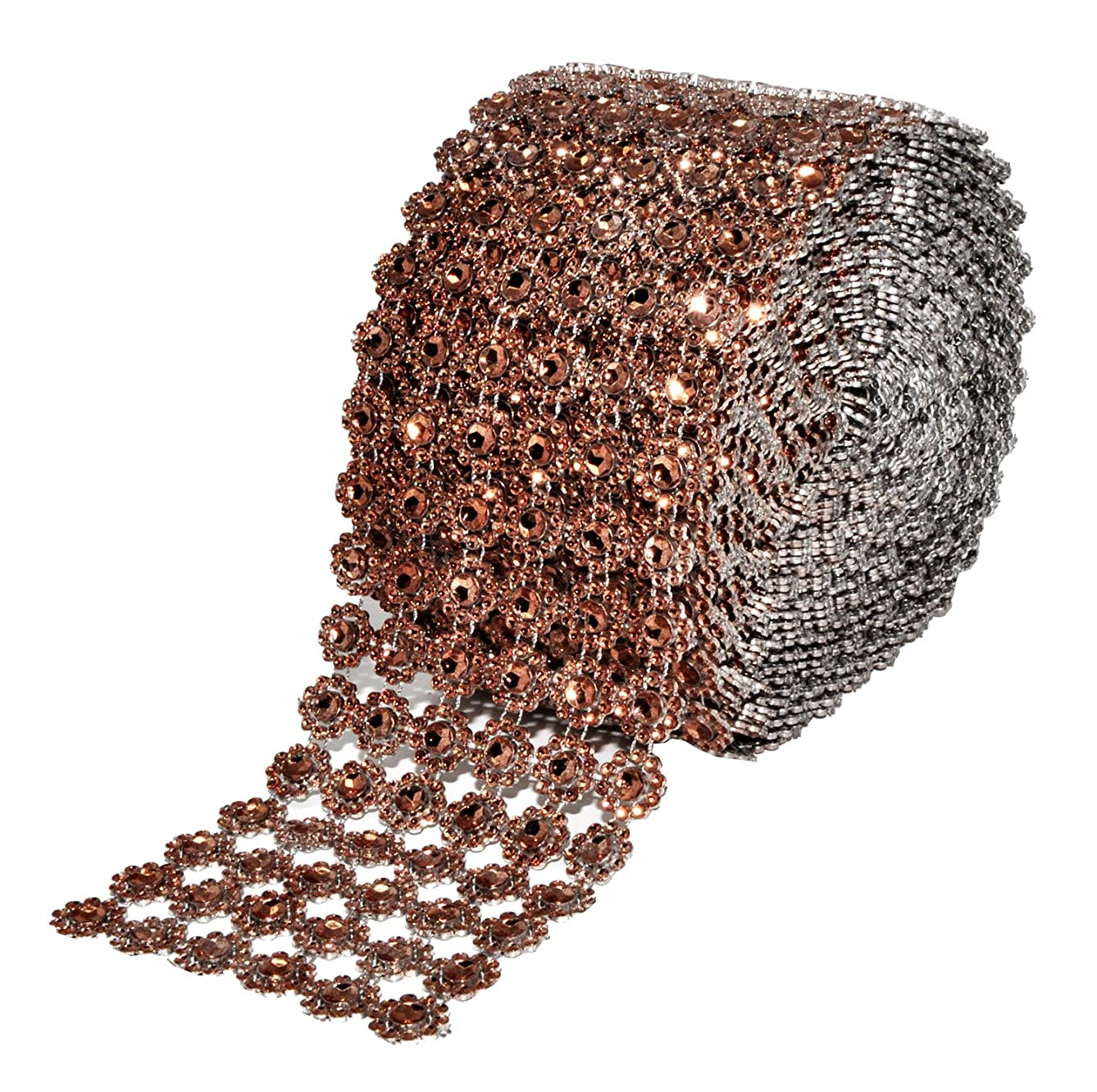 Mandala Crafts Faux Diamond Bling Wrap, Faux Rhinestone Crystal Mesh Ribbon Roll for Wedding, Party, Centerpiece, Cake, Vase Sparkling Decoration (Flower Pattern 4 Inches 10 Yards, Brown)