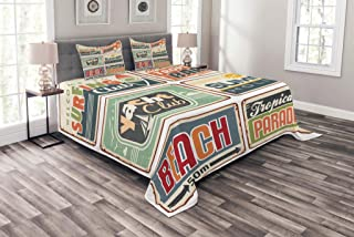 Ambesonne Retro Bedspread, Summer Holiday Vintage Camping Beach Sign Boards in Old Style Faint Colors Art Print, Decorative Quilted 3 Piece Coverlet Set with 2 Pillow Shams, Queen Size, Multicolor