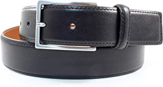 Leather Dress Belt with Silver Buckle. Made in USA. 1.5