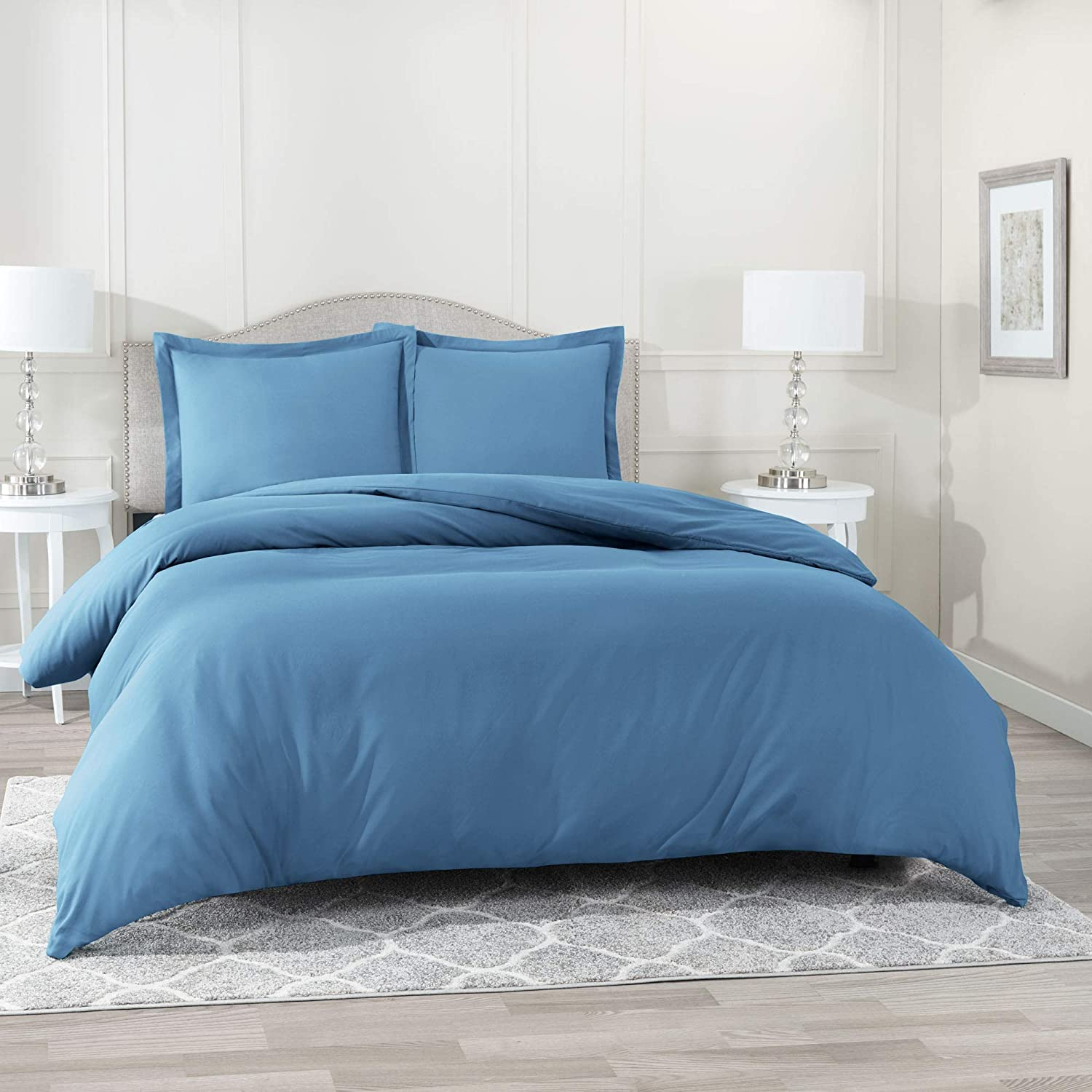 Nestl Duvet Cover 2 Piece Set – Ultra Soft Double Brushed Microfiber Hotel-Quality – Comforter Cover with Button Closure and 1 Pillow Sham, Blue Heaven - Twin (Single) 68