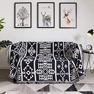 YRYIE Multi-Function Throw Blanket Tassel 51 X 71 Inch Reversible Couch Tapestry Cotton Woven for Living Room Bedroom Home Decor-Black and White Geometry