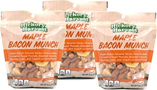 Snack Bags, Mixed Nut and Trail Mix, Dried Fruit, Raisins, Yogurt, Peanuts, Almonds, Granola, Great Unique Flavors for a Healthy Treat - Maple Bacon Munch - 3 Pack