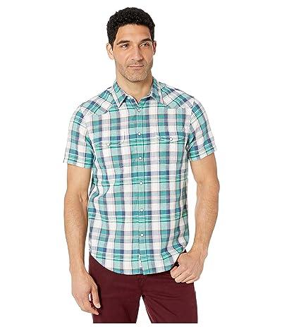 Lucky Brand Short Sleeve Madras Plaid Shirt (Green Plaid) Men