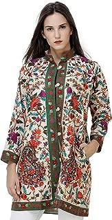 Exotic India Sand-Dollar Short Kashmiri Jacket with Multicolor Ari Embro - Beige