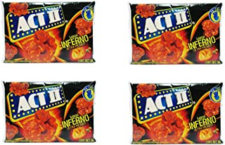 Act II Popcorn Palomitas sabor Inferno Ultra Picante, Ultra Hot (4-pack) Spicy Popcorn Inferno