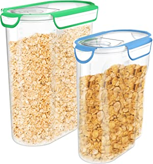 Vremi Plastic Cereal Containers Storage Set with Lids - 2 Pack BPA Free 3L and 5 Liter Dry Food Container Set with Pour Spout and Airtight Silicone Seal Holds 12 or 21 Cups of Snacks Pasta or Pet Food