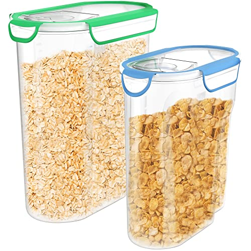 Vremi Plastic Cereal Containers Storage Set with Lids - 2 Pack BPA Free 3L and 5