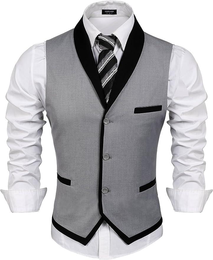 70s Jackets, Furs, Vests, Ponchos COOFANDY Mens Suit Vest Slim Fit Business Wedding Vests Dress Waistcoat  AT vintagedancer.com