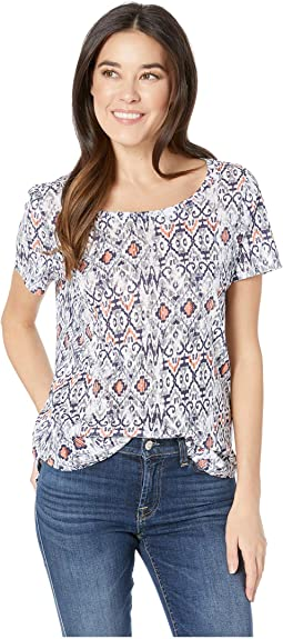 Printed Slub Short Sleeve Top
