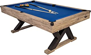 """American Legend Kirkwood 84"""" Billiard Table with Rustic Blond Finish, K-Shaped Legs and Royal Blue Cloth"""