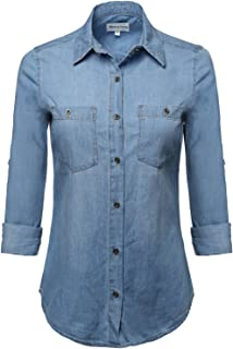 686d465d4a3 Made by Emma Women s Junior Fit Basic Closure Roll Up Sleeves Chest Pocket  Denim Chambray