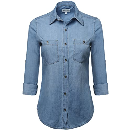 2db19546 Made by Emma Women's Junior Fit Basic Closure Roll Up Sleeves Chest Pocket  Denim Chambray
