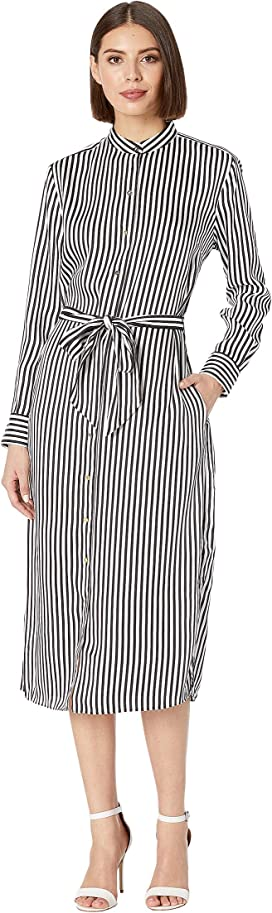 95fcdebbab0 TWO by Vince Camuto Long Sleeve Valiant Stripe Tie Front Shirtdress ...
