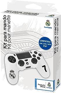 Funda protectora de silicona para mando PS4 - Carcasa blanda antideslizante con Thumb grips caps de precisión para joysticks – Accesorios videojuegos con licencia oficial Real Madrid