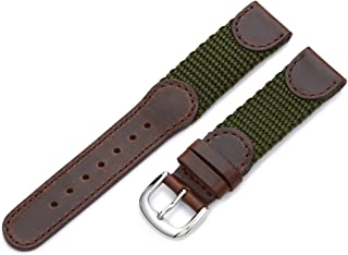 Hadley-Roma Men`s MSM866RA 160 16-mm Black `Swiss-Army` Style Nylon and Leather Watch Strap