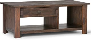 Simpli Home AXCMON-01 Monroe Solid Acacia Wood 48 inch Wide Rectangle Rustic Rectangular Coffee Table in Distressed Charcoal Brown