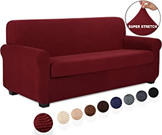 TIANSHU 2 Piece Sofa Slipcover, Stretch Couch Cover for Sofa, Stylish Jacquard Furniture Covers (Sofa, Dark Wine)