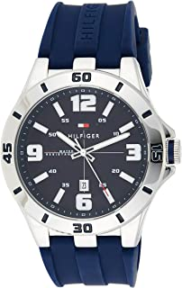 Tommy Hilfiger Men's Black Dial Silicone Band Watch - 1791062, Analog Display