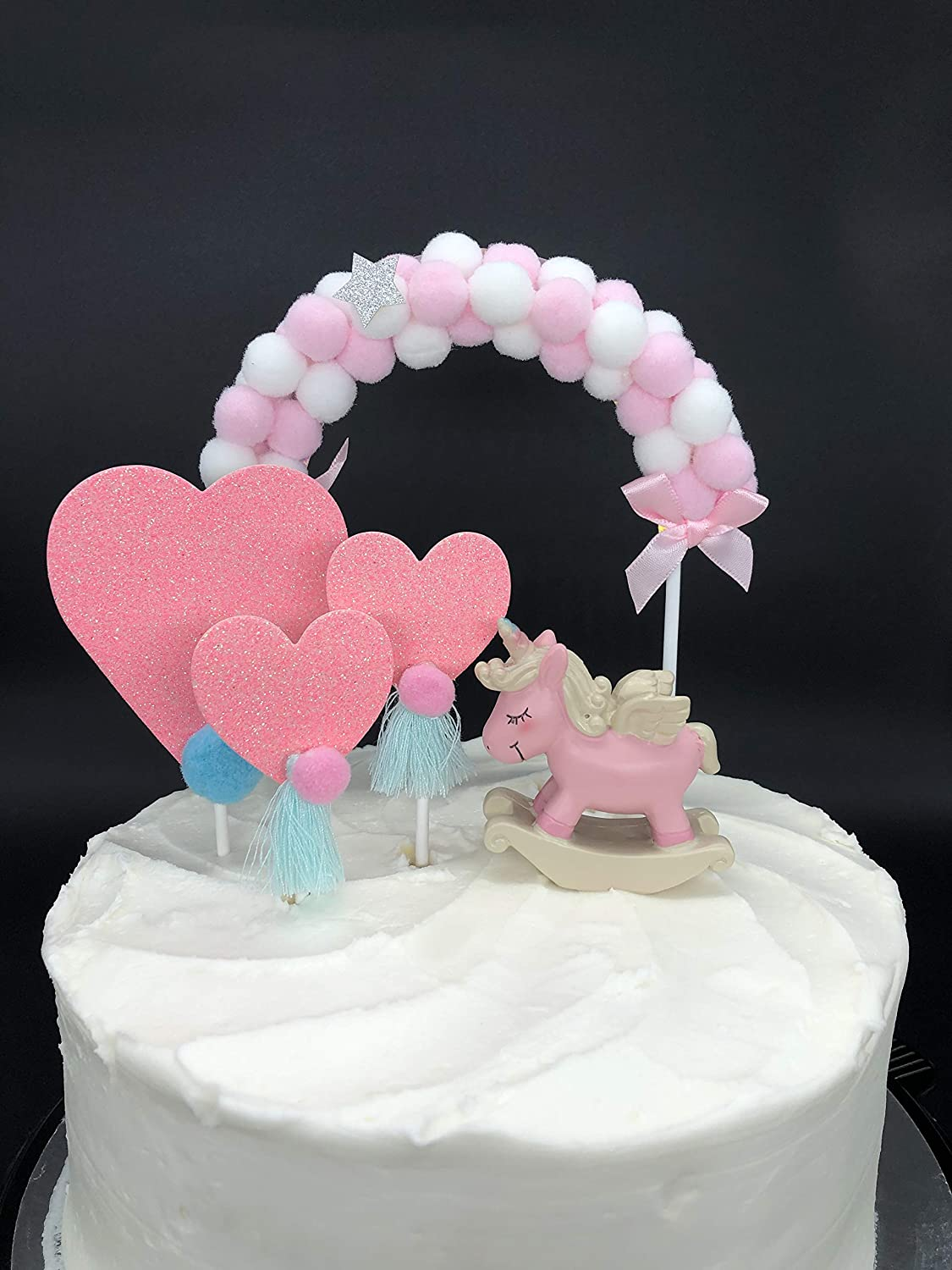 Baby Showers Parties Unicorn Cake Topper 5pcs with Pom Pom Arch and 3 Hearts for Birthdays Blue