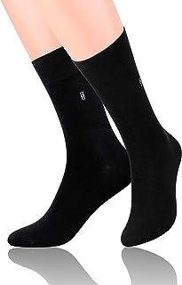 Steven, Calcetines de algodón para hombre a media pantorrilla, duraderos y cómodos, negros, talla EU 42-44