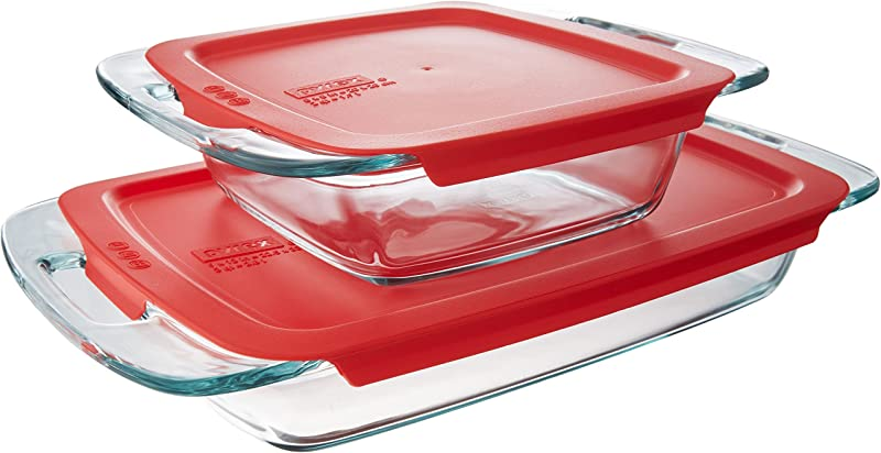 Pyrex Easy Grab Glass Bakeware Set With Red Lids 4 Piece